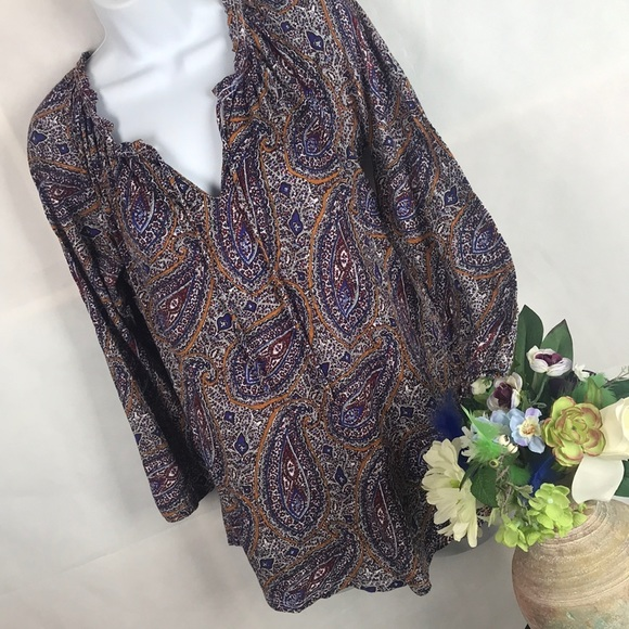Lucky Brand,Women/'s Paisley Henley Knit Tops,Cap Sleeve.